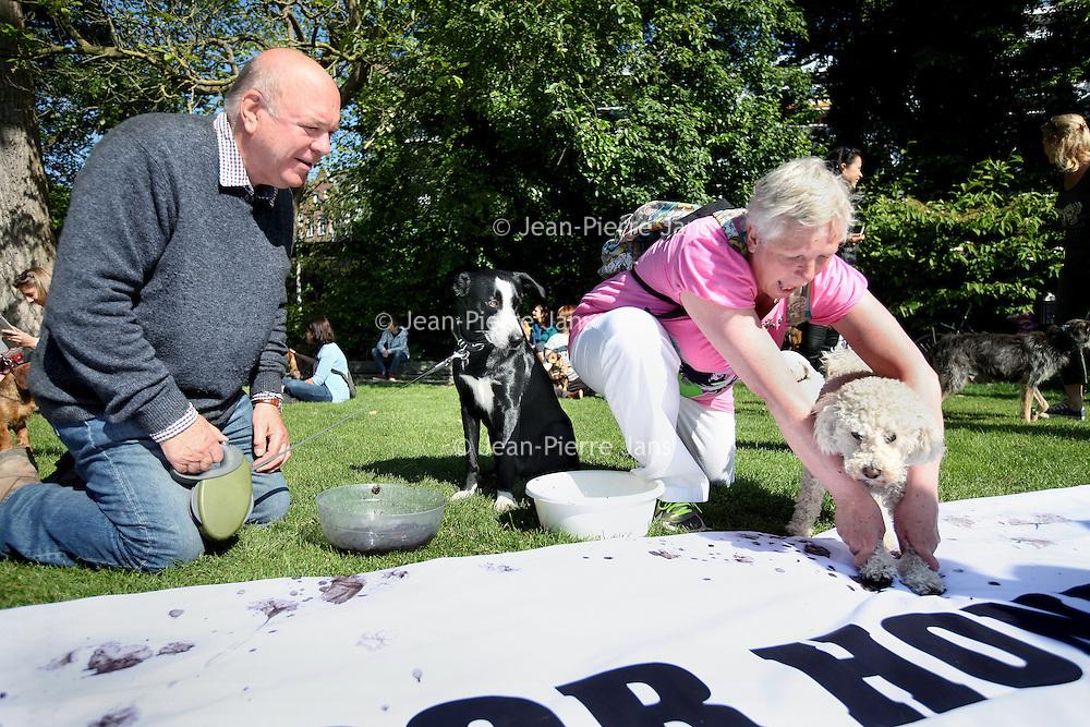 Nederland, Amsterdam , 18 mei 2014.<br /> De actie honden voor honden in het Vondelpark.<br /> De bijeenkomst in het Vondelpark is een initiatief van WSPA om aandacht te vragen voor hondenwelzijn in Europa. Waar honden in het Amsterdamse Vondelpark lekker los kunnen lopen, hebben honden elders in Europa vaak een hondenleven. Maar het welzijn van dieren staat volgens de dierenwelzijnsorganisatie niet hoog op de Europese agenda. Zo is hondenwelzijn niet opgenomen in Europese wetgeving. <br /> <br /> In actie voor honden in nood<br /> WSPA vraagt in de aanloop naar de Europese verkiezingen op 22 mei aandacht voor hondenleed. Inmiddels hebben ruim 30.000 Nederlanders de petitie ondertekend, waarmee WSPA pleit voor een algemene Europese Dierenwelzijnswet, waaronder ook beschermende maatregelen genomen worden voor honden en andere huisdieren.<br /> <br /> The action Dogs for Dogs in the Vondelpark in Amsterdam for animal welfare in Europe.