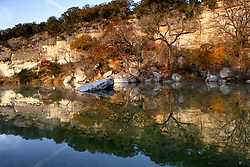 Stock photo of a colorful landscape reflection in a river in the Texas Hill Country