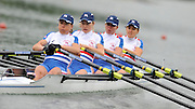 Ottensheim, AUSTRIA. GBR LW4X, Bow,Sophie HOSKING, Andrea DENNIS, Laura GREENHALGH and Jane HALL, as they move away from the start in their morning heat, at the 2008 FISA Senior and Junior Rowing Championships,  Linz/Ottensheim. Tuesday,  22/07/2008.  [Mandatory Credit: Peter SPURRIER, Intersport Images] Rowing Course: Linz/ Ottensheim, Austria