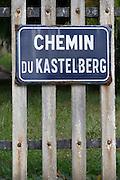street sign chemin du kastelberg kastelberg gc andlau alsace france