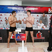 Istanbulls Onur SIPAL (L) and Kremlin Bears boxers Movsur YUSUPOV (C) seen during their Presentation and the weighing ceremony matchday 4 of the World Series of Boxing at Ahmet Comert Arena in Istanbul, Turkey, Thursday, January 13, 2011. Photo by TURKPIX