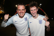 two England fans look on outside Wembley Stadium before k/o. England v Spain, Football international friendly at Wembley Stadium in London on Tuesday 15th November 2016.<br /> pic by John Patrick Fletcher, Andrew Orchard sports photography.
