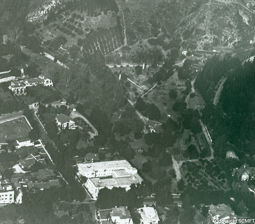 1924 The Outpost & General H. Otis' residence. Now known as the Outpost Estates. The Don Tomas Urquidez adobe can be seen in the middle of photo. Photo is portion of RS-002-51