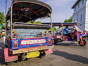 19 OCTOBER 2012 - BANGKOK, THAILAND:  Tuk-tuks (three wheeled taxis common in developing cities in Asia) on the street in the old section of Bangkok, Thailand.          PHOTO BY JACK KURTZ