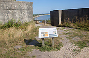 Second world war information panel by defensive structures at Fort Henry,  Studland Bay, Swanage, Dorset, England, UK