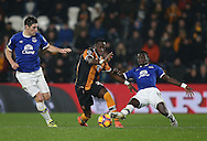 Adams Diomande of Hull City tussles with Idrissa Gueye of Everton during the English Premier League match at the KCOM Stadium, Kingston Upon Hull. Picture date: December 30th, 2016. Pic Simon Bellis/Sportimage