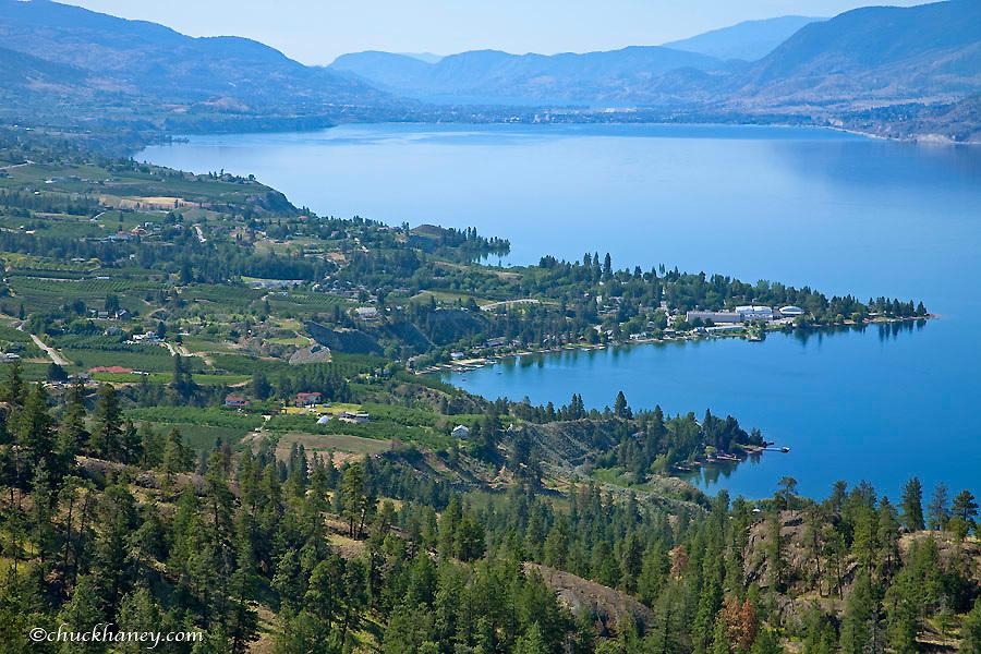 Looking down onto Okanangan Lake near Penticton British Columbia Canada