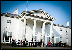 The 25 Members of the EU Leaders stand with their flags  during the enlargement cermony Saturday May 1st 2004 in Dublin,Ireland,on the day of the EU Enlargement at Farmleigh House.PA PHoto Andrew Parsons