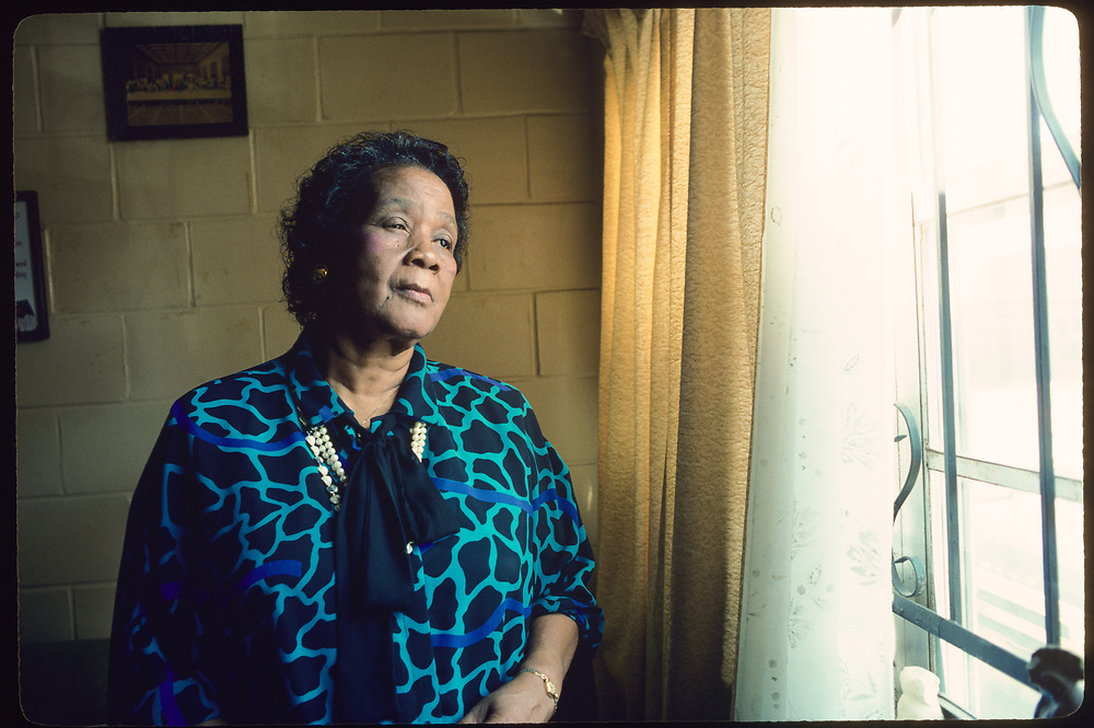 Ms. Beulah Mae Donald successfully sued the Ku Klux Klan in Alabama for $7million for the beating and lynching of her son Michael Donald. Photographed in her home in Mobile Alabama in 1986
