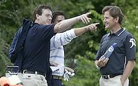 ARNHEM - Chris van der Velde Jeroen Stevens en Rick Huiskamp (m) . Voorjaarswedstrijden Golf heren op de Rosendaelsche Golfclub COPYRIGHT KOEN SUYK