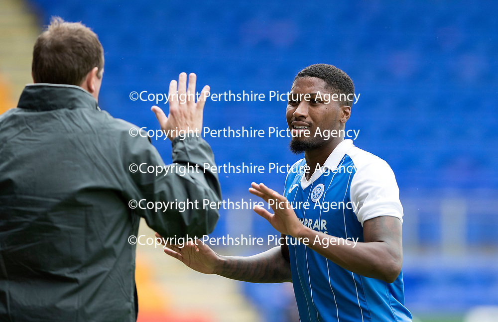 St Johnstone v Hartlepool…22.07.17… McDiarmid Park… Pre-Season Friendly<br />Trialist Romaine Habran high fives manager Tommy Wright as he is subbed<br />Picture by Graeme Hart.<br />Copyright Perthshire Picture Agency<br />Tel: 01738 623350  Mobile: 07990 594431