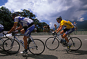 Discovery's George Hincapie leads team mate Lance Armstrong up the Col du Telegraph on Wednesday 13th July 2005.