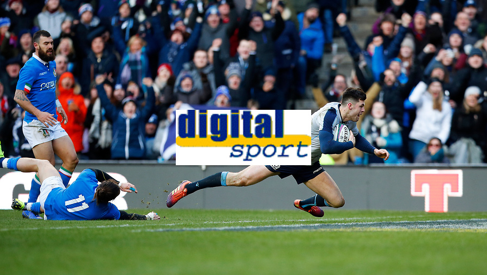 Rugby Union - 2019 Guinness Six Nations Championship - Scotland vs. Italy<br /> <br /> Blair Kinghorn of Scotland scores his third try at Murrayfield.<br /> <br /> COLORSPORT/LYNNE CAMERON