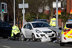 © Licensed to London News Pictures . 27/04/2016 . Manchester , UK . Scene where police report two died in a fatal RTA involving a white Audi A5 at 03:15 this morning (Weds 27th April) . Greater Manchester Police report they observed the vehicle shortly before it crashed in to street furniture on Wilbraham Road in Chorlton, close to Whalley Range High School For Girls . Photo credit : Joel Goodman/LNP