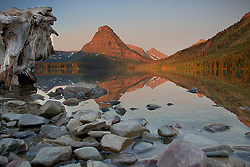 Stump, rocks, Two Medicine Lake, reflection, Glacier National Park