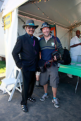 05 May 2013. New Orleans, Louisiana,  USA. <br /> New Orleans Jazz and Heritage Festival. JazzFest.<br /> Music legend Allen Toussaint and AP legend Gerald Herbert.<br /> Photo; Charlie Varley