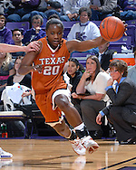 Texas guard Erneisha Bailey drives the baseline against Kansas State at Bramlage Coliseum in Manhattan, Kansas, February 3, 2007.  Texas beat K-State 61-34.