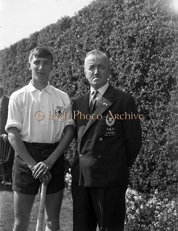 28/04/1962<br /> 04/28/1962<br /> 28 April 1962<br /> Schoolboys Hockey International Ireland v England at Londonbridge Road, Dublin. English player with Scottish Umpire.
