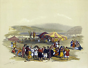 Encampment of Pilgrims, Jericho Watercolor painting by David Roberts (1796-1864).