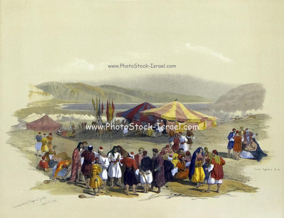 Encampment of Pilgrims, Jericho Watercolor painting by David Roberts (1796-1864).