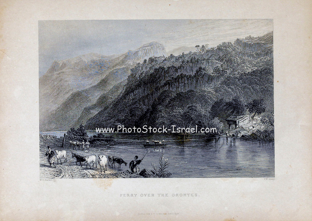 Ferry over the Orontes [River in Syria, Lebanon and Turkey] from Volume 2 of Syria, the Holy Land, Asia Minor, &c. by Carne, John, 1789-1844; Illustrated by Bartlett, W. H. (William Henry), 1809-1854, and Allom, Thomas, 1804-1872 Published in London in 1837