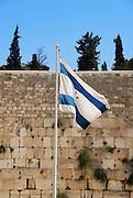 Israel, Jerusalem The israeli flag at the wailing wall