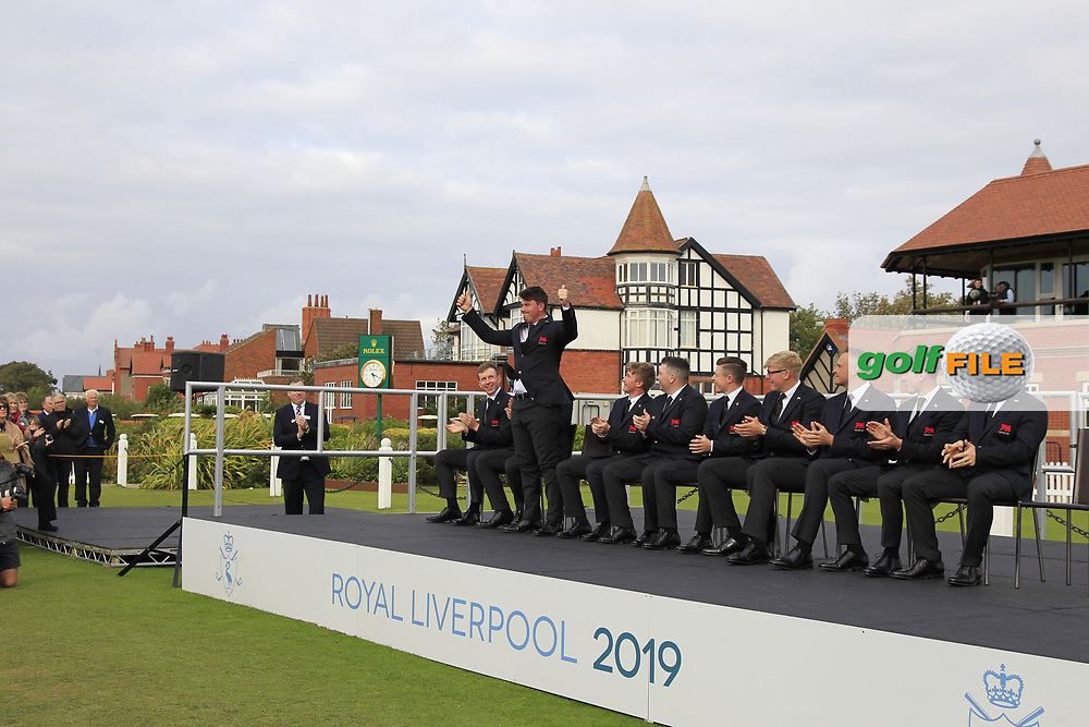 Thomas Sloman (GB&I) being introduced during the Official Opening of the Walker Cup, Royal Liverpool Golf CLub, Hoylake, Cheshire, England. 06/09/2019.<br /> Picture Thos Caffrey / Golffile.ie<br /> <br /> All photo usage must carry mandatory copyright credit (© Golffile   Thos Caffrey)
