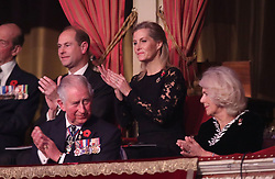 The Prince of Wales and Duchess of Cornwall with the Earl of Wessex and Sophie, Countess of Wessex during the annual Royal British Legion Festival of Remembrance at the Royal Albert Hall in London, which commemorates and honours all those who have lost their lives in conflicts.