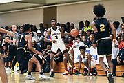 NORTH AUGUSTA, SC. July 10, 2019. Devonte Davis  2020 #3 of Woodz Elite 17U at Nike Peach Jam in North Augusta, SC. <br /> NOTE TO USER: Mandatory Copyright Notice: Photo by Jon Lopez / Nike