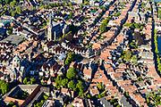 Nederland, Noord-Holland, Hoorn, 13-06-2017; overzicht binnenstad met Grote Kerk (voormalige kerk) en het plein De Roode Steen.<br /> Overview inner city Hoorn.<br /> luchtfoto (toeslag op standard tarieven);<br /> aerial photo (additional fee required);<br /> copyright foto/photo Siebe Swart