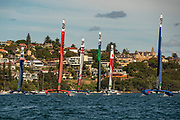 Six F50 catamarans start the first race on day one of competition. Event 1 Season 1 SailGP event in Sydney Harbour, Sydney, Australia. 15 February 2019. Photo: Chris Cameron for SailGP. Handout image supplied by SailGP
