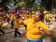 27 DECEMBER 2014 - PATONG, PHUKET, THAILAND:  Members of the Phuket Line Dancing Club work out on Patong Beach. Patong Beach is the largest beach on Phuket island. It's popular with tourists from Australia and Europe. In recent years it has become a leading destination for Russian tourists.   PHOTO BY JACK KURTZ