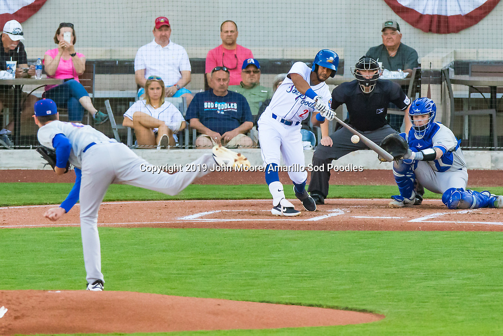Amarillo Sod Poodles infielder Ivan Castillo (2) hits the ball against the Midland RockHounds on Wednesday, May 15, 2019, at HODGETOWN in Amarillo, Texas. [Photo by John Moore/Amarillo Sod Poodles]