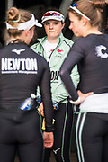 Putney, London, Varsity, Tideway Week, 3rd April 2019, Abigail Parker, at the crew debriefing, after the outing,  Embankment, Start of the Oxford Cambridge Media week, Championship Course,<br /> [Mandatory Credit: Peter SPURRIER], Wednesday,  03.04.19,