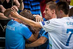 Valter Birsa, Milivoje Novakovic and Josip Ilicic of Slovenia during the EURO 2016 Qualifier Group E match between Slovenia and England at SRC Stozice on June 14, 2015 in Ljubljana, Slovenia. Photo by Grega Valancic