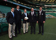 The International players involved in the 2008 Varsity match; (l-r) Doug Rowe of the USA and Cambridge, Dan Vickerman of Australia and Cambridge, Mark Ranby of New Zealand and Cambridge, Anton Oliver of New Zealand and Oxford and Stan McKeen of Canada and Oxford. Nomura Varsity Match photocall Twickenham Stadium, Rugby Union, 04/12/2008. © Matthew Impey  / Wiredphotos.co.uk. tel: 07789 130 347 email: matt@wiredphotos.co.uk
