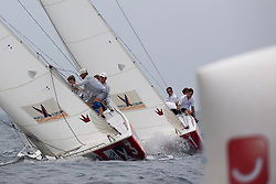 Eugeny Nuegodnikov leads Mathieu Richard into the top mark. Portimao Portugal Match Cup 2010. World Match Racing Tour. Portimao, Portugal. 25 June 2010. Photo: Gareth Cooke/Subzero Images