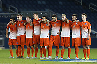 BILDET INNGÅR IKEK I FASTAVTALER. ALL NEDLASTING BLIR FAKTURERT.<br /> <br /> Fotball<br /> Foto: imago/Digitalsport<br /> NORWAY ONLY<br /> <br /> 11 December 2015: Clemson players link arms during the shootout. From left: Iman Mafi (NOR), Kyle Fisher, Aaron Jones (ENG), Patrick Bunk-Andersen (DEN), Diego Campos (CRC), Kyle Murphy, T.J. Casner, Thales Moreno (BRA), and Michael Melvin. The Clemson University Tigers played the Syracuse University Orange at Sporting Park in Kansas City, Kansas in a 2015 NCAA College League USA Division I Men s College Cup Semifinal match. The game ended in a 0-0 tie after overtime; Clemson advanced to the Final by winning the penalty kick shootout 4-1. (Photograph by Andy Mead/YCJ/Icon Sportswire) NCAA SOCCER: DEC 11 Men s College Cup - Clemson v Syracuse