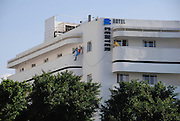 Israel Tel Aviv The Bauhaus building now housing the Cinema Hotel at Zina Dizengoff circle at the intersection of Dizengoff, Pinsker Zamanhoff and Rienes streets in the centre of the city