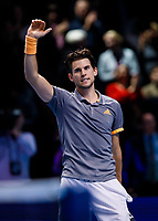Tennis - 2019 Nitto ATP Finals at The O2 - Day Seven<br /> <br /> Semi Finals: Dominic Thiem (Austria) Vs. Alexander Zverev (Germany)<br /> <br /> Dominic Thiem (Austria) celebrates his victory and place in the final <br /> <br /> COLORSPORT/DANIEL BEARHAM<br /> <br /> COLORSPORT/DANIEL BEARHAM