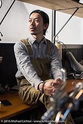 Hideya Togashi at his Hide Motorcycles custom motorcycle shop in Kawasaki, Japan after the Yokohama Hot Rod & Custom Show. Kawasaki, Japan. December 6, 2016.  Photography ©2016 Michael Lichter.