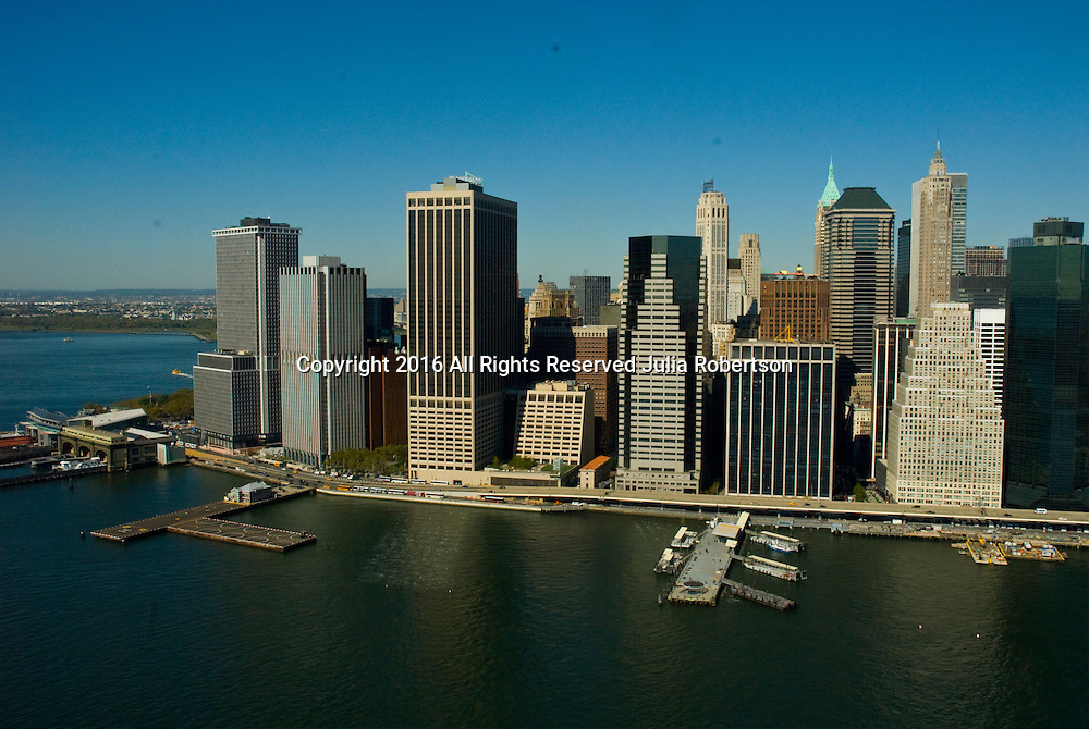 aerial view of wall street in lower manhattan, new york