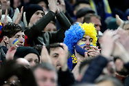 AFC Wimbledon fans clapping during the The FA Cup 3rd round match between Tottenham Hotspur and AFC Wimbledon at Wembley Stadium, London, England on 7 January 2018. Photo by Matthew Redman.