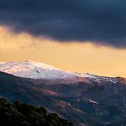 Last rays on Pico del Veleata, highest peak of Sierra Nevada.