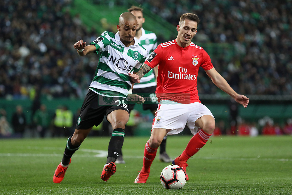 February 3, 2019 - Lisbon, PORTUGAL, Portugal - Bruno Gaspar of Sporting CP (L) vies for the ball with Álex Grimaldo of SL Benfica (R) during the League NOS 2018/19 footballl match between Sporting CP vs SL Benfica. (Credit Image: © David Martins/SOPA Images via ZUMA Wire)