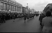 Sinn Fein (Provo) Dublin Parade.   K22..1976..25.04.1976..04.25.1976..25th April 1976..Sinn Fein held an Easter Rising Commemorative  parade..The parade started at St Stephens Green, Dublin and proceeded through the streets to the G.P.O.in O'Connell Street, the scene of the centre of the 1916 uprising..Picture of the children's band as they pass the reviewing stand at the G.P.O.