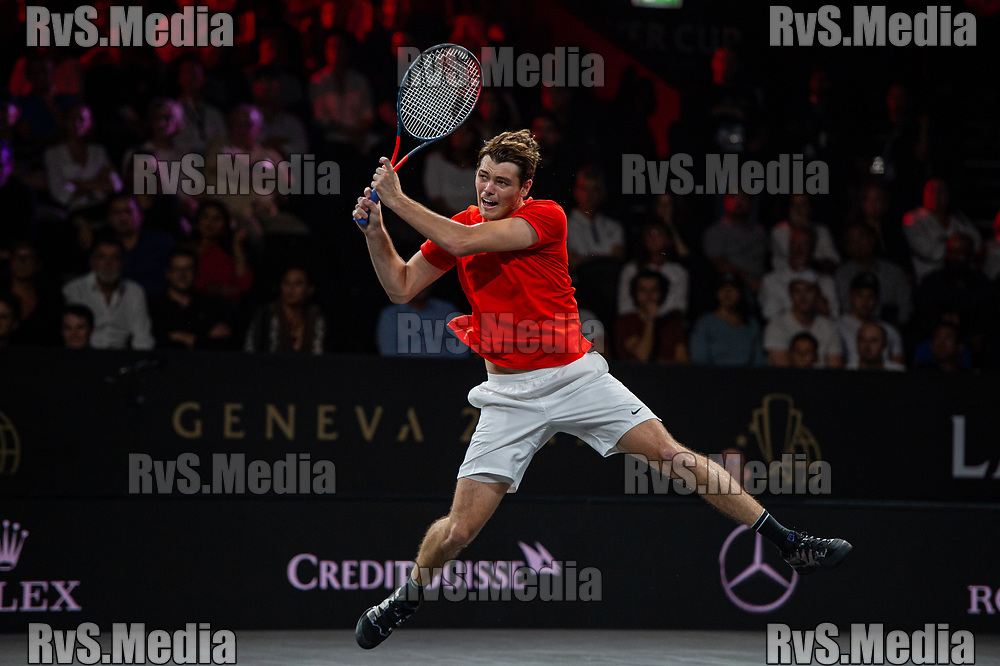 GENEVA, SWITZERLAND - SEPTEMBER 22: Taylor Fritz of Team World in action during Day 3 of the Laver Cup 2019 at Palexpo on September 22, 2019 in Geneva, Switzerland. The Laver Cup will see six players from the rest of the World competing against their counterparts from Europe. Team World is captained by John McEnroe and Team Europe is captained by Bjorn Borg. The tournament runs from September 20-22. (Photo by Monika Majer/RvS.Media)