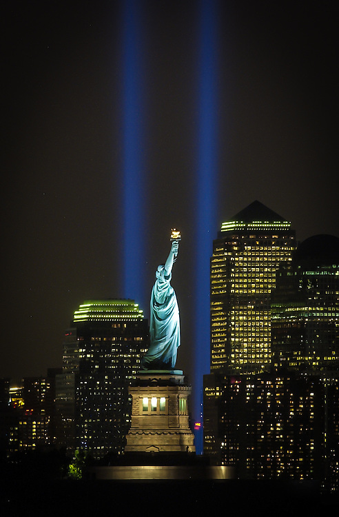 9/11/2003 - The annual towers of light shine into the night sky in tribute to the World Trade Center towers. This view is from Jersey City, NJ. Photo by Jim Anness