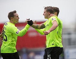 Hibernian's Jason Cummings cele scoring their goal. half time : Falkirk 1 v 1 Hibernian, Scottish Championship game played 31/12/2016 at The Falkirk Stadium .