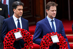 © Licensed to London News Pictures. 08/05/2015. LONDON, UK. Nick Clegg and Ed Miliband attending a service of remembrance at the Cenotaph in London marking the 70th anniversary of VE Day on Friday, 8 May 2015. Photo credit : Tolga Akmen/LNP